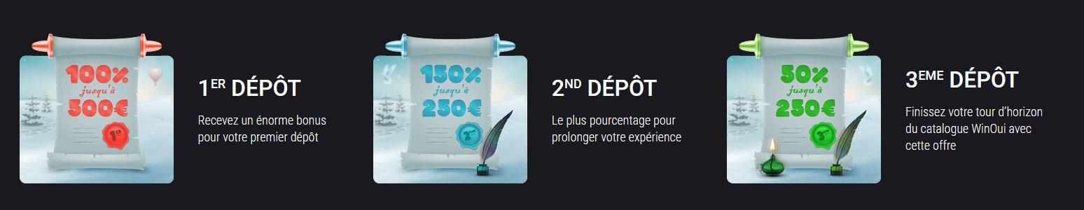 1000€ de bonus chez WinOui casino